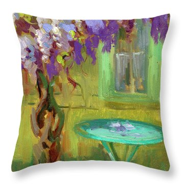 Wisteria At Hotel Baudy Throw Pillow