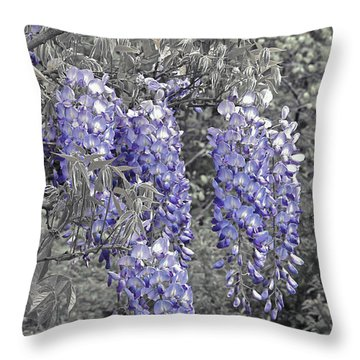 Wisteria Blossom Cluster Abstract -- Version 2 Throw Pillow by Byron Varvarigos