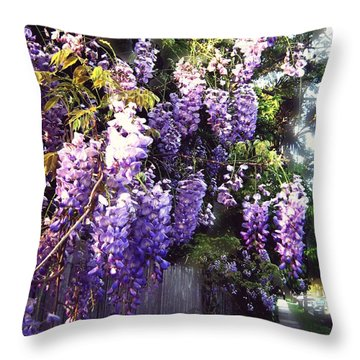 Wisteria Dreaming Throw Pillow by Leanne Seymour
