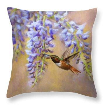 Wisteria Elegance Throw Pillow