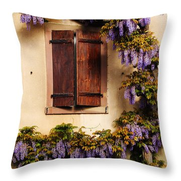 Wisteria Encircling Shutters In Riquewihr France Throw Pillow by Greg Matchick