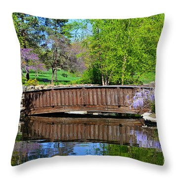 Wisteria In Bloom At Loose Park Bridge Throw Pillow