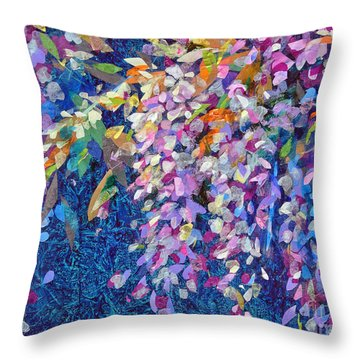 Throw Pillow featuring the mixed media Wisteria by Li Newton