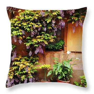 Wisteria On Home In Zellenberg France Throw Pillow by Greg Matchick