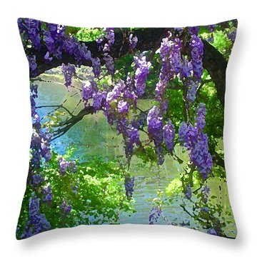 Wisteria Over Turtle Creek Throw Pillow