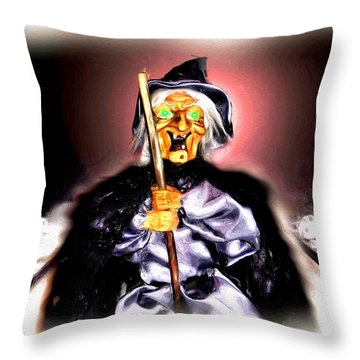 Throw Pillow featuring the digital art Witch by Daniel Janda