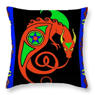 Throw Pillow featuring the digital art Witches Dragon by Vagabond Folk Art - Virginia Vivier