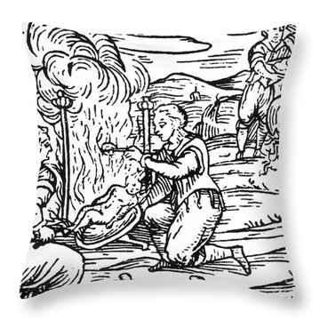 Witches Roasting And Boiling Infants Throw Pillow