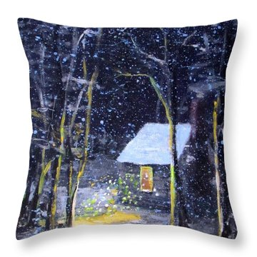 Wintery  Night At Thoreau's Cove Throw Pillow