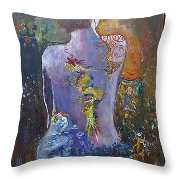 Throw Pillow featuring the painting With A Little Help From My Friends by Diana Bursztein