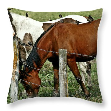With A Little Help From My Friends Throw Pillow by Elizabeth Winter