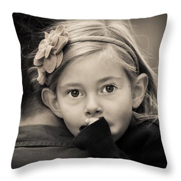 With Dad - B And W Throw Pillow
