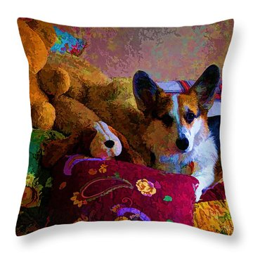 With His Friends On The Bed Throw Pillow