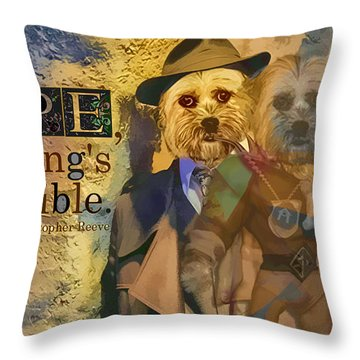 Throw Pillow featuring the digital art With Hope Anything Is Possible 5 by Kathy Tarochione