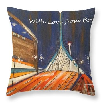 With Love From Boston Throw Pillow