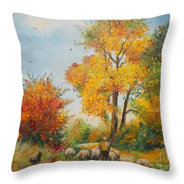 With Sheep On Pasture  Throw Pillow by Sorin Apostolescu
