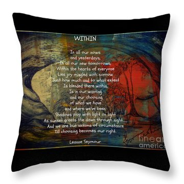Throw Pillow featuring the drawing Within by Leanne Seymour