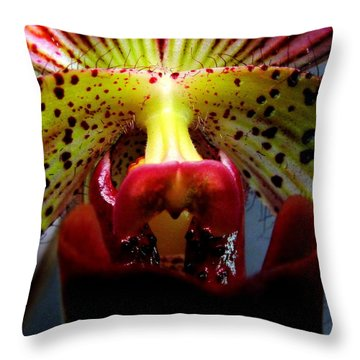 Within The Lady Slipper Throw Pillow by Karen Wiles