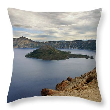 Wizard Island - Crater Lake Oregon Throw Pillow by Christine Till