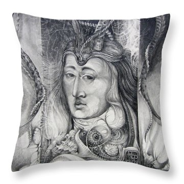 Throw Pillow featuring the drawing Wizard Of Bogomil's Island - The Fomorii Conjurer by Otto Rapp