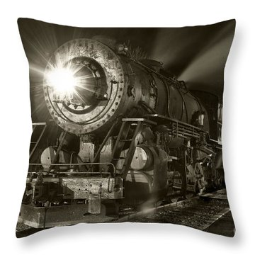 Wmsr Engine 734 At The Frostburg Depot Throw Pillow by Jeannette Hunt