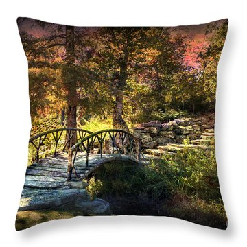 Woddard Park Bridge II Throw Pillow