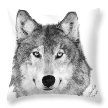 Wolf - 004 Throw Pillow by Abbey Noelle