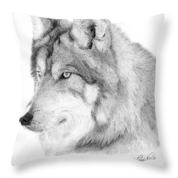 Wolf - 006 Throw Pillow by Abbey Noelle