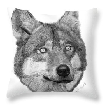 Wolf - 017 Throw Pillow by Abbey Noelle