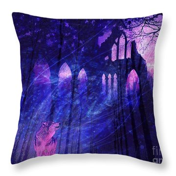 Wolf And Magic Throw Pillow