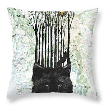 Wolf Barcode Throw Pillow by Sassan Filsoof