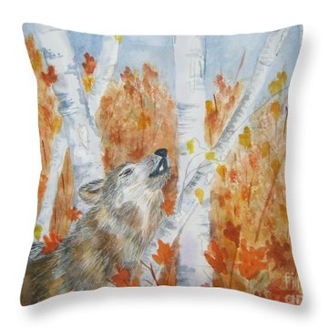 Throw Pillow featuring the painting Wolf Call by Ellen Levinson