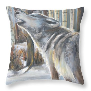 Wolf Throw Pillow by Cher Devereaux