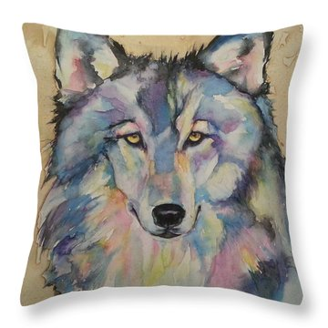 Throw Pillow featuring the painting Wolf by Christy  Freeman