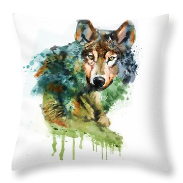 Wolf Face Watercolor Throw Pillow by Marian Voicu