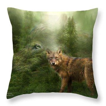 Wolf - Forest Spirit Throw Pillow by Carol Cavalaris