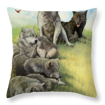 Throw Pillow featuring the painting Wolf Gathering Lazy by Rob Corsetti