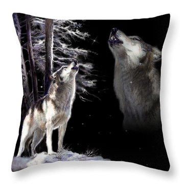 Wolf  Howling Memory Throw Pillow