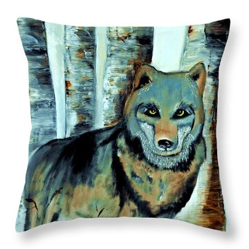 Wolf In The Birches  Throw Pillow