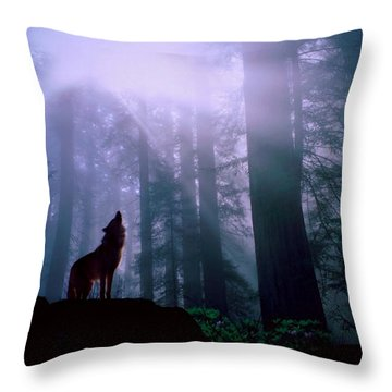 Wolf In The Woods Throw Pillow