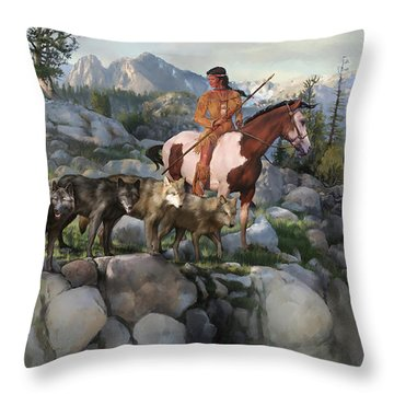 Wolf Maiden Throw Pillow by Rob Corsetti
