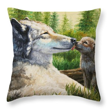 Wolf Painting - Spring Kisses Throw Pillow by Crista Forest