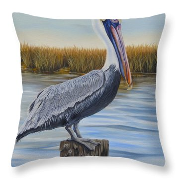 Throw Pillow featuring the painting Wolf River Pelican by Phyllis Beiser