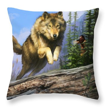 Throw Pillow featuring the painting Wolf Run Indian Hunter by Rob Corsetti