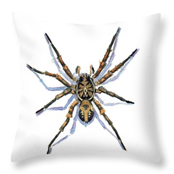 Wolf Spider Throw Pillow by Katherine Miller