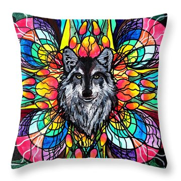 Wolf Throw Pillow by Teal Eye  Print Store