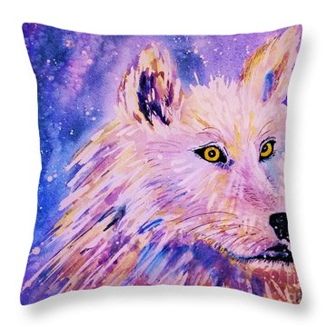 Wolf  - White Wolf  - Aurora Nights Throw Pillow