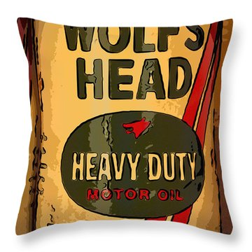 Wolf's Head Oil Can Throw Pillow