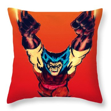 Wolverine  Throw Pillow by Justin Moore