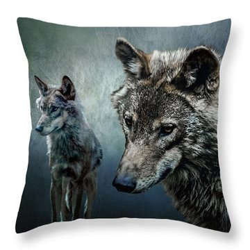 Throw Pillow featuring the photograph Wolves In Moonlight by Brian Tarr